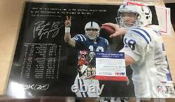 PEYTON MANNING SIGNED AUTO AUTOGRAPH TENNESSEE PSA DNA COA HOF Reebok Poster