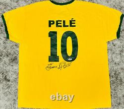 Pele Signed Brazil Soccer Jersey Full Name Autographed with Edson PSA/DNA COA