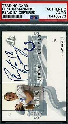 Peyton Manning Psa Dna Coa Autograph 2001 Sp Authentic Hand Signed
