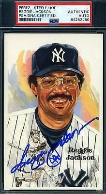Reggie Jackson PSA DNA Coa Autograph Hand Signed Perez Steele Postcard