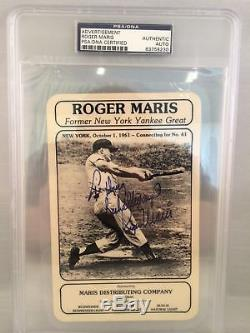 Roger Maris Signed Card From His Beer Distribution Company PSA DNA COA Autograph