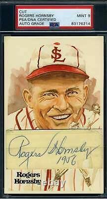 Rogers Hornsby Mint 9 PSA DNA Coa Autograph Signed Perez Steele Cut Postcard