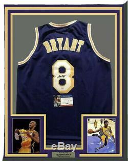 Rookie Kobe Bryant Autographed Professionaly Framed Purple Jersey PSA/DNA COA