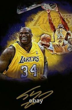 SHAQUILLE O'NEAL Signed 18x24 Canvas Photo LAKERS HOF Shaq Auto PSA/DNA COA
