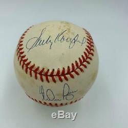 Sandy Koufax Nolan Ryan Bob Feller Pitching Legends Signed Baseball PSA DNA COA