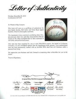 Sandy Koufax Nolan Ryan Bob Feller Triple HOF Signed ONL Baseball PSA/DNA COA