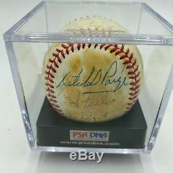 Satchel Paige & Ernie Banks Hall Of Fame Multi Signed Baseball With PSA DNA COA
