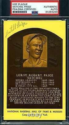 Satchel Paige PSA DNA Coa Autograph Hand Signed Gold HOF Plaque Postcard