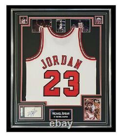 Signed Michael Jordan Jersey Framed Display 6 Time NBA Champion PSA DNA +COA