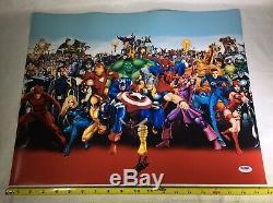 Stan Lee Signed Authentic 16x20 Marvel Comics Cast Characters PSA DNA COA