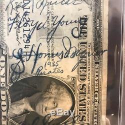 Stunning Honus Wagner Signed $1 Dollar Bill With 1935 Pirates Team PSA DNA COA
