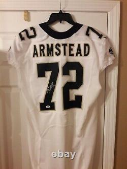 Terron Armstead NEW ORLEANS SAINTS SIGNED WHITE GAME ISSUED JERSEY W PSA/DNA COA