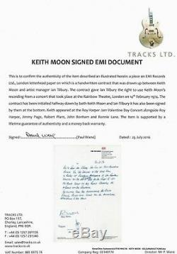 The Who Keith Moon Signed 1974 Roy Harper Concert Contract Psa/dna Coa Very Rare