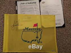 Tiger Woods Signed Tournament Used Masters Pin Flag UDA COA & PSA/DNA