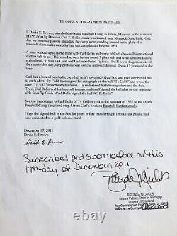 Ty Cobb Autograph Baseball. Full Side Panel Signed Dated. PSA/DNA COA