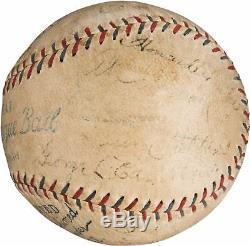 Ty Cobb Jimmie Foxx Tris Speaker 1928 Athletics Team Signed Baseball PSA DNA COA