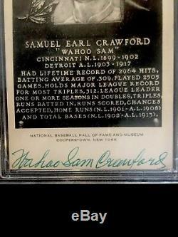WAHOO SAM CRAWFORD PSA DNA COA Autographed Artvue Type 2 HOF Plaque Hand Signed