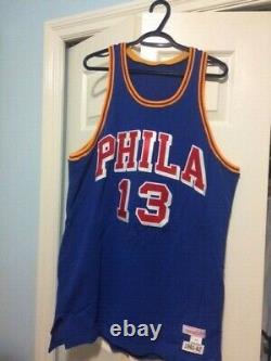 WILT CHAMBERLAIN Autographed Blue Phila Jersey #13 H. O. F 78 with PSA/DNA COA