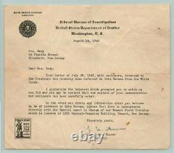 WW2 1943 Vintage J EDGAR HOOVER Signed Autograph on FBI LETTER with PSA/DNA COA