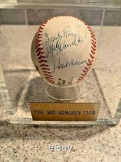 Willie Mays Hank Aaron Ernie Bank 500 Home Run Club Signed Baseball PSA DNA COA
