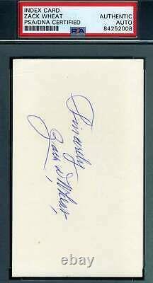 Zack Wheat PSA DNA Coa Autograph Hand Signed 3x5 Index Card