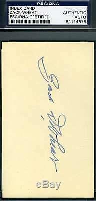 Zack Wheat Psa Dna Coa Autograph 3x5 Signed Index Card